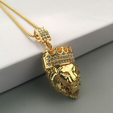MEN FASHION GOLD PLATED CROWN LION HEAD PENDANT NECKLACE COLLAR JEWELRY RETRO