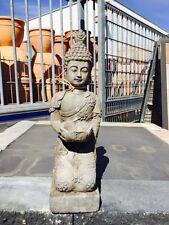 Buddha Bodhisatva Mönch mit Schale 46 cm hoch NEU dunkelgrau/ altgrau