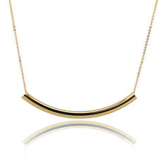 """18K Yellow Gold Filled Chain Curved Bar Pendant Choker Necklace For Women 15"""""""