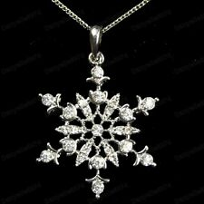"""QUALITY CRYSTAL pendant SNOWFLAKE NECKLACE winter snow 18"""" CHAIN SILVER FASHION"""