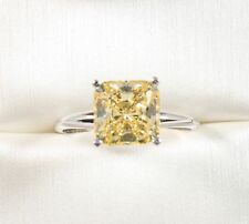 14K WHITE GOLD   3.00CT EMERALD CUT Fancy Yellow  Wedding Engagement Ring