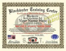 BLACKWATER Certificate / Diploma Prop - TACTICAL SWAT LEVEL II TRAINING COURSE