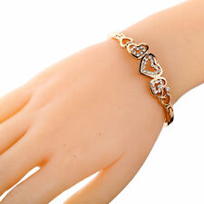New Rose Gold Hollow Inlay Crystal love Heart Shaped Bracelet Bangle Cuff Gift