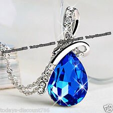 BLACK FRIDAY SALE - Silver & Royal Blue Crystal Necklace XMAS Gift For Her Women