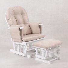 Baby Breast Feeding Sliding Glider Rocking Chair with Ottoman White Beige