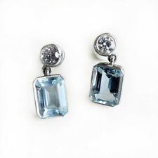 2.00Ct Emerald Aquamarine and Round Diamond Earring Crafted in 18k White Gold  .