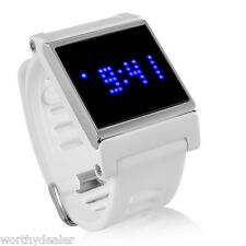 White Touch Screen Operated Wristwatch Retro Digital Watch LED Date White
