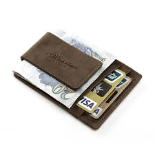 Men Women Crazy Horse Leather Credit ID Holder Wallet With Magnetic Money Clip