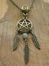 Bronze Pentacle & Feather Pendant Necklace Green Line Quartz Pentagram Pagan