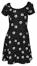 NEW BLACK WHITE FLORAL DAISY TUNIC SKATER DRESS SUMMER 6 LOOK NEXT DAY POST