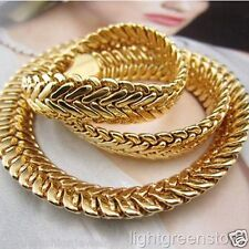 "Massive 24k Yellow Gold Filled Men's Necklace Herringbone chain Jewelry 24"" 10mm"