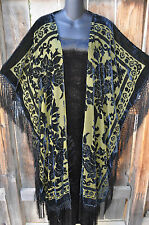 ART TO WEAR BLACK & OLIVE VELVET BURNOUT LONG SILK FRINGED KIMONO JACKET,OS+!