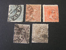 *SPAIN, SCOTT # 258-262(4)+265. TOTAL 5 1889-99 KING ALFONSO XIII  ISSUE USED