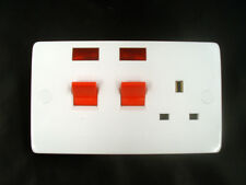 45 Amp DP Cooker Control Switch + 13A Switched Socket + Neon. White PVC EM5046
