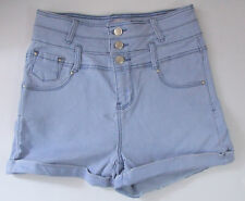 Ladies/Girls New Look Size 12 Hotpant denim Shorts Cotton Rich Light Blue