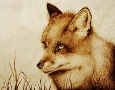 ORIGINAL ANIMAL DRAWING-PYROGRAPHY/WOODBURNING-FOX-'THE TRICKSTER'