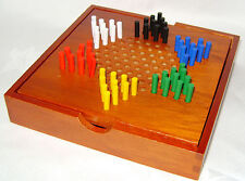 NEW CHINESE CHEQUERS CHECKERS GAME WITH WOODEN BOARD AND COMPARTMENT BOX ACK