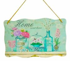 Shabby Chic Hanging Vintage French Welcome Home Sign Flowers Bottle Butterfly