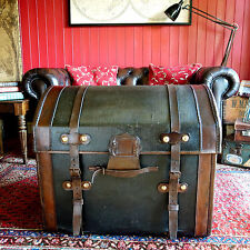 ANTIQUE VICTORIAN Dome Top CARRIAGE TRUNK Steamer Trunk TRAVEL CHEST Storage Box