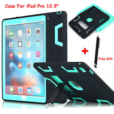 "F iPad Pro 12.9"" Shockproof Hybrid Rugged Rubber Protective Hard Cover Case+Clip"