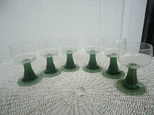 6 vintage retro luminarc bee hive green ribbon stemmed wine glasses