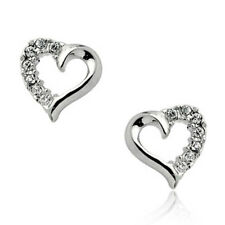 Lovely elegant 18ct white gold heart stud earrings quality jewellery UK seller