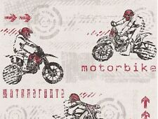 MOTORBIKE MOTOCROSS RED WHITE TEXTURED FEATURE WALLPAPER A.S.CREATION 93550-5