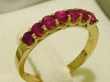 R183 Genuine 9ct Yellow Gold Natural Ruby Eternity Ring 7-Stone Stackable size M