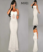 Sz M 10 12 White Lace Sleeveless Sexy Formal Cocktail Gown Party Maxi Long Dress