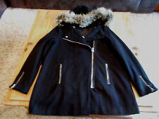 BN size 10 black fully lined 3/4 length coat with detactable fur trim RRP£45