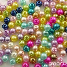 100pcs Mixed Pastel Colours Glass Pearl Round Beads Jewelry Making Craft 6MM