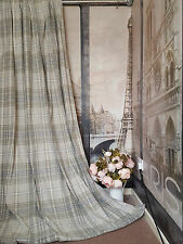 """New Huge Bespoke Stone Natural Tartan 52""""W108""""L Blackout Thermal Lined Curtains"""