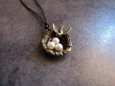 New Lovely Antiqued Bronze Bird Nest Pendant Charm Necklace in Brown Cord