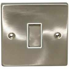 Click Deco 10 amp 1 gang 2 way Plate Light Switch Satin Chrome White insert