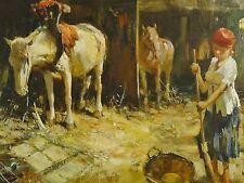 Friedrich KLAIBERG (1921-1998) Gemälde PFERDE IM STALL, EINE MAGD FEGT DEN BODEN