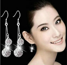 SILVER DOUBLE SHAMBALLA CRYSTAL DROP DANGLE HOOK EARRINGS