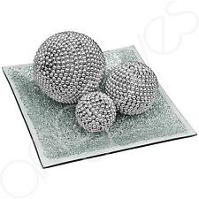 Beautiful Silver Pearl Effect Ball & Plate Set Glass Mosaic 20cm Home Decor Dish
