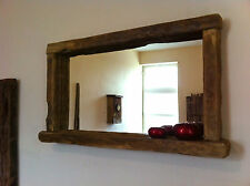 Reclaimed Wood Rustic Farmhouse Mirror with candle shelf Aged Oak Colour
