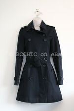 100% authentic BURBERRY LONDON cotton trench coat black classic 6 4 38 34