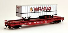 Bachmann HO Scale Train Flat Car w Piggyback Trailer Santa Fe 16701