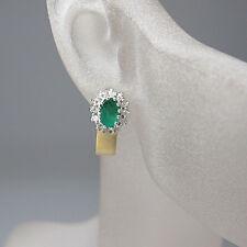 Ohrstecker mit ca. 0,48ct Diamant und ca. 0,50ct Smaragd in 18K Weiß-/Gelbgold
