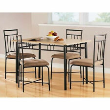 5 piece dining set wood metal 4 chairs table kitchen breakfast furniture new breakfast furniture sets