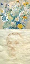 Wolf Thaler 1895-1952 München / beidseitig Aquarell Wiesenblumen, Herrenportrait