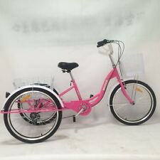 """Brand New Pink 24"""" 6 Speed Shimano Gears Adult Tricycles Cargo Bike"""