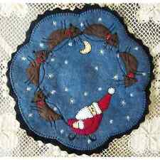 Christmas Penny Rug Candle Mat with Appliqued Folk Art Santa and Reindeer AL-074