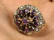 TURKISH HANDMADE OTTOMAN AMETHYST 925 STERLING SILVER RING SIZE 8.5 R-1507