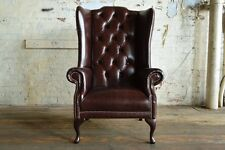 QUEEN ANNE OLD VINTAGE DARK BROWN LEATHER HIGH BACK CHESTERFIELD WING CHAIR