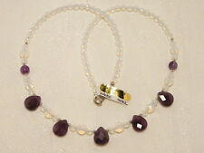 """AMETHYST GEMSTONE and OPALITE (created) NECKLACE, 925 SILVER """"NEW """"AUZ MADE"""