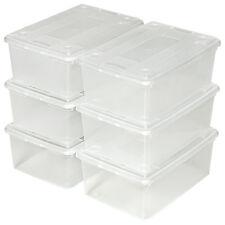 6er Set Schuhbox mit Deckel stapelbar Aufbewahrungsbox Kunststoffbox transparent