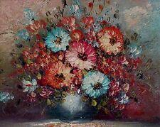 Moderne Kunst, akdemische Arbeit, Roox, Blumenstillleben in blauer Vase xxxxxxxx